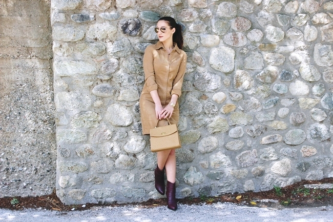 Tan brown corduroy shirt dress and burgundy leather booties outfit