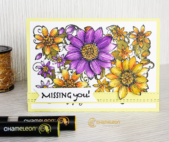 card with 3D flowers
