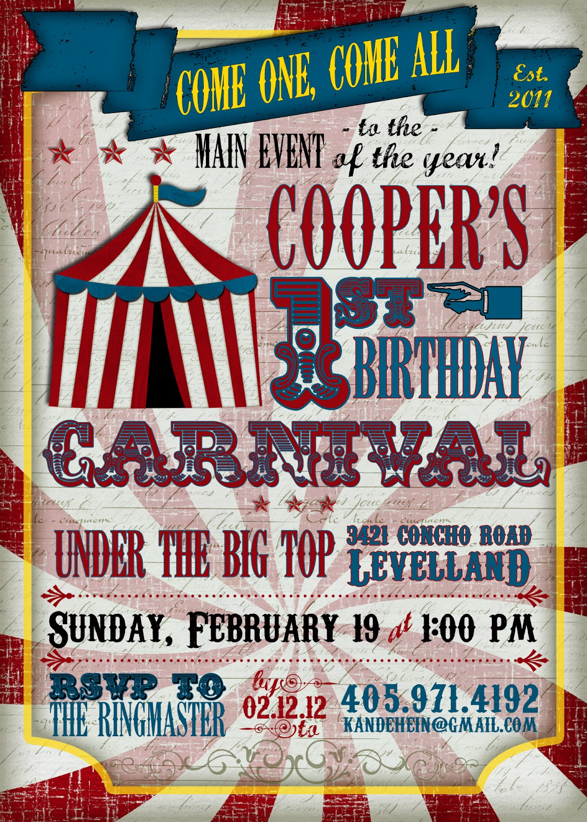 Coopers First Birthday Vintage Carnival Party