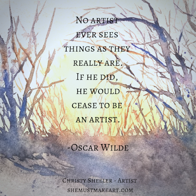 A painting of bare branches and sunset in watercolors with Oscar Wilde quote