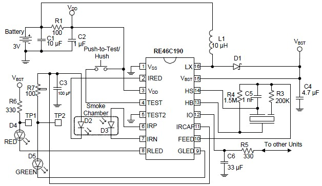 Schematic & Wiring Diagram: RE46C190 Photoelectric Smoke