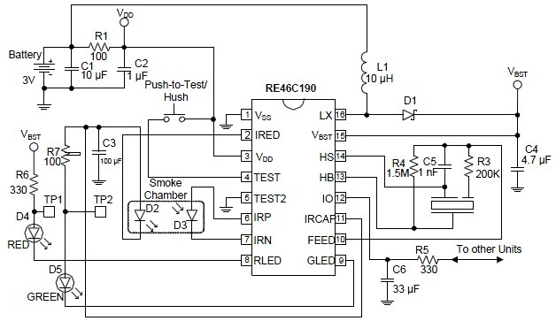Schematic & Wiring Diagram: RE46C190 Photoelectric Smoke