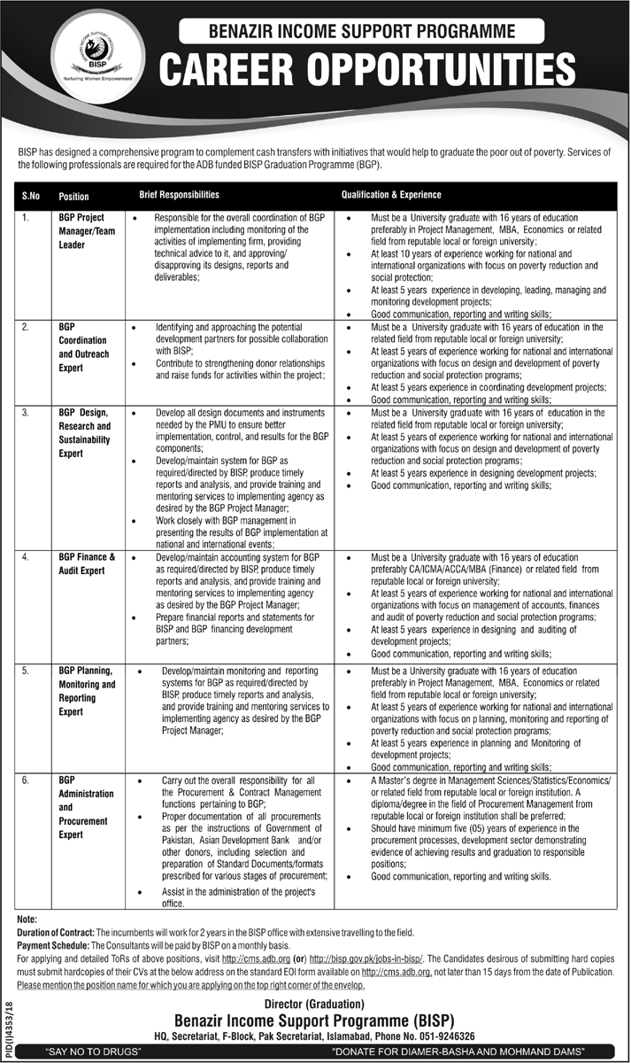 Advertisement for Benazir Income Support Programme Jobs