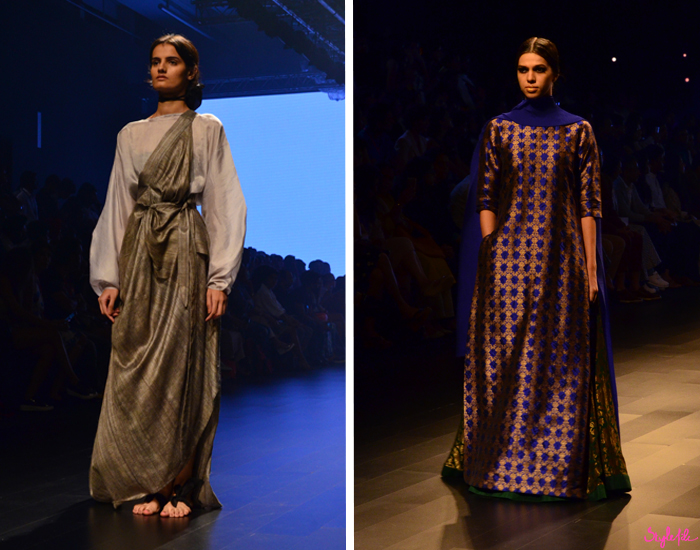 Indian models walk the ramp for designer Payal Khandwala at Lakme Fashion Week Winter Festive 2016 at St. Regis