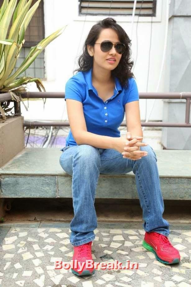 , Nisha Kothari Pics in Blue Top & Jeans