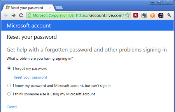 How to retrieve forgotten hotmail password
