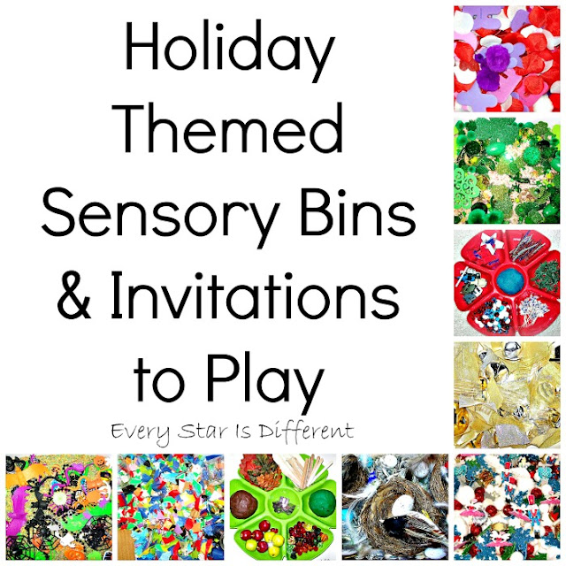 Holiday Sensory Bins and Invitations to Play