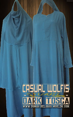 Gamis Casual Wolfis Warna Dark Tosca