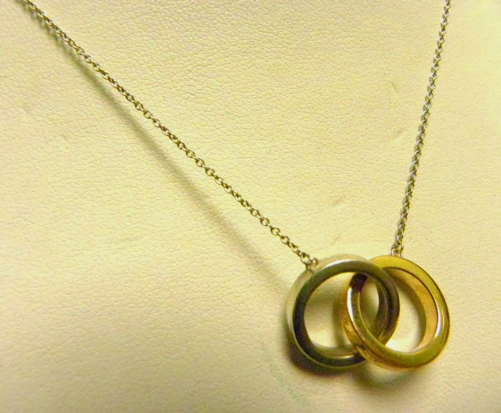 a520f2bc8 TIFFANY & CO 925 SILVER 18K GOLD 1837 T & CO. INTERLOCKING RINGS PENDANT 16