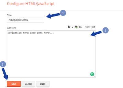 insert navigation menu to Blogger