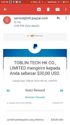 Bukti Pembayaran Via Paypal $30 dari Aplikasi VeeU Android