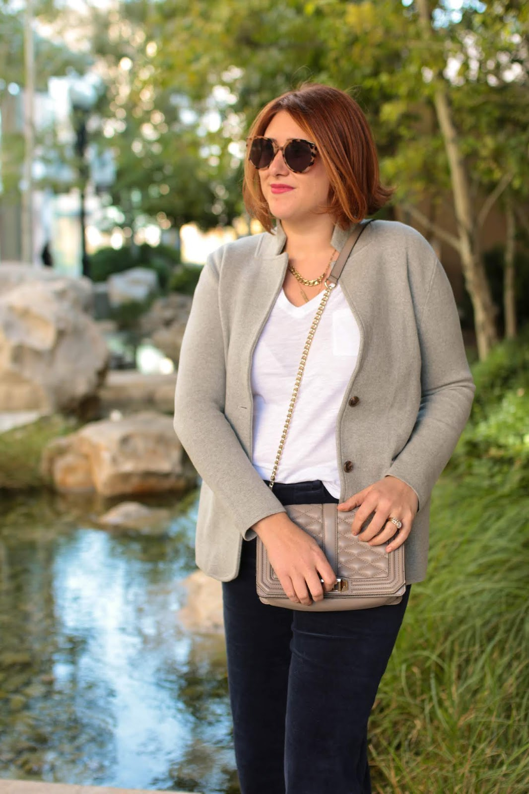 red hair, wide leg crop pants, sweater blazer j. crew factory, black mule loafers