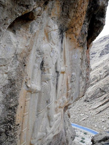 The relief's location on the mountain's cliff. Who sculpted this relief here and why he chose this place? The relief en face. Photo courtesy Mr. Osman Toofiq, Assitant Lecturer, College of Archaeology, Sulaymaniyah University.
