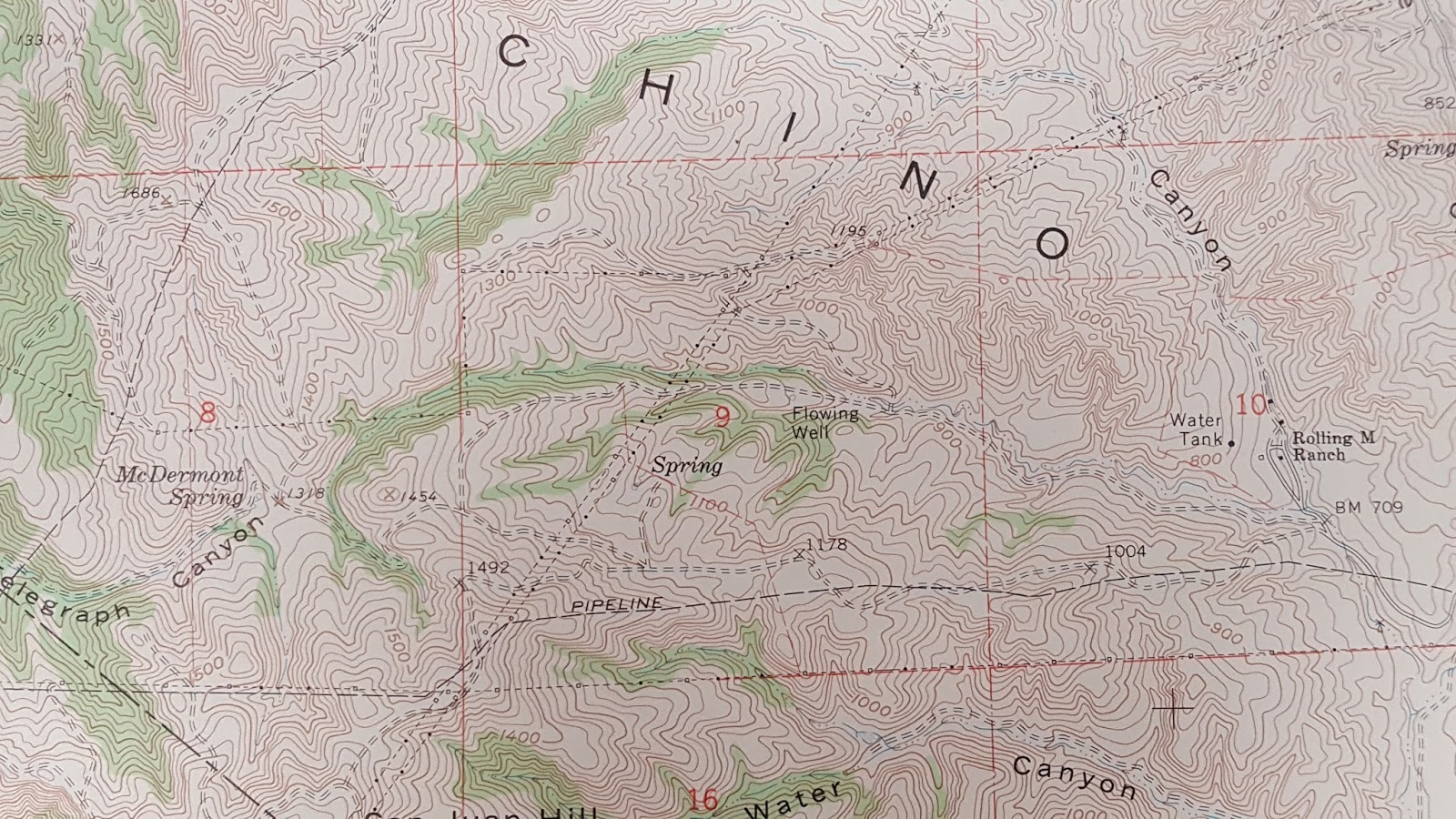 in what is now the chino hills state park area the section of map from rolling m ranch park headquarters on the right to mcdermont spring which is near