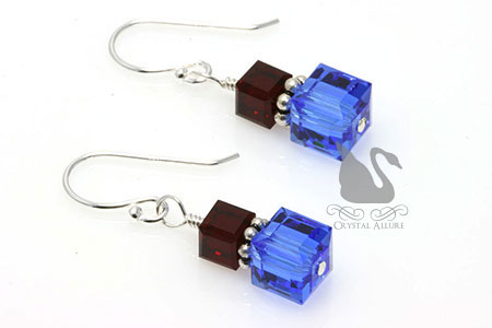 Crystal Cube Pulmonary Fibrosis Awareness Earrings (E125-D2)