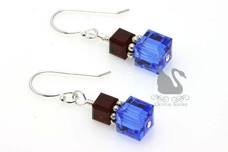 Crystal Cube Pulmonary Fibrosis Awareness Earrings (E125-D2)