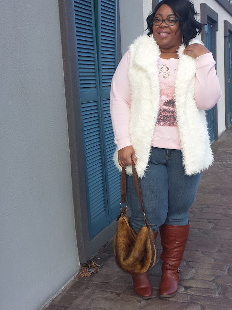 valentine's day outfit; faux fur; fluffy and confident