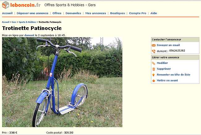 trottinette Tomasini à vendre sur le site leboncoin.fr