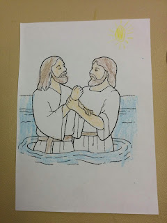 John the Baptist baptising Jesus Christ colouring page