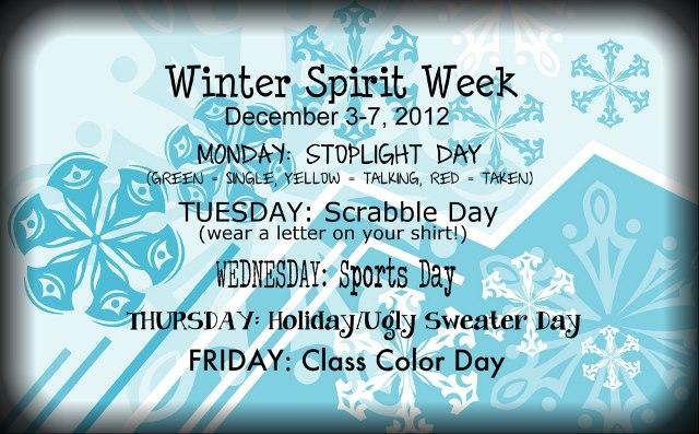 Santa Teresa High School\u0027s Activities WINTER spirit week!!