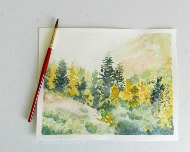 Watercolor Fall Landscape by Elise Engh: Grow Creative Blog