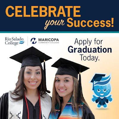 Poster featuring two female graduates smiling and Rio Salado mascot splash in cap and gown.  Text: Celebrate your success!