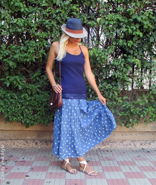 StrawFedora+LaceTank+MaxiSkirt+GladiatorSandals+CrossbodyBag+BeachWaves - Lilli Candy and Style Fashion Blog