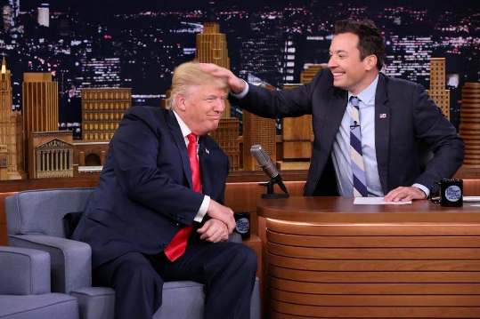 Donald Trump lets TV host Jimmy Fallon turn his hair into a total mess (photos/video)