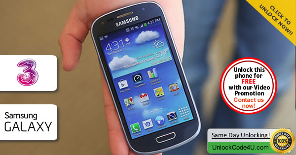 Factory Unlock Code Samsung S3 Mini VE from Three Network