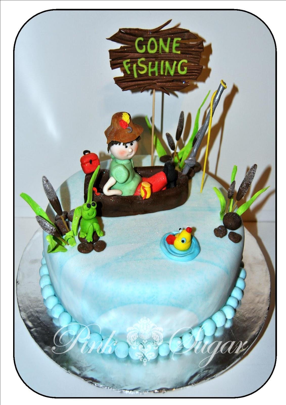 Pink Sugar Gone Fishing Cake