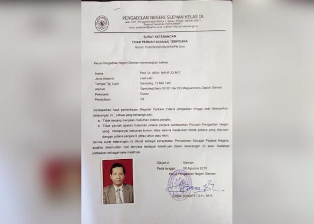 Surat Keterangan Bebas Pidana Mahfud MD yang Gagal Dipakai