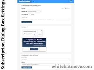 PushEngage Subscription Dialogue Box Settings