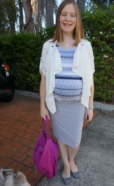 Away From Blue | Third Trimester Office Wear Pencil skirt printed maternity tank