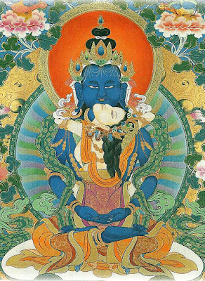 The male and female primordial buddhas Samantabhandra and Samantabhadri in union. Thangkas painted by Shawu Tsering and photographed by Jill Morley Smith are in the private collection of Gyurme Dorje.