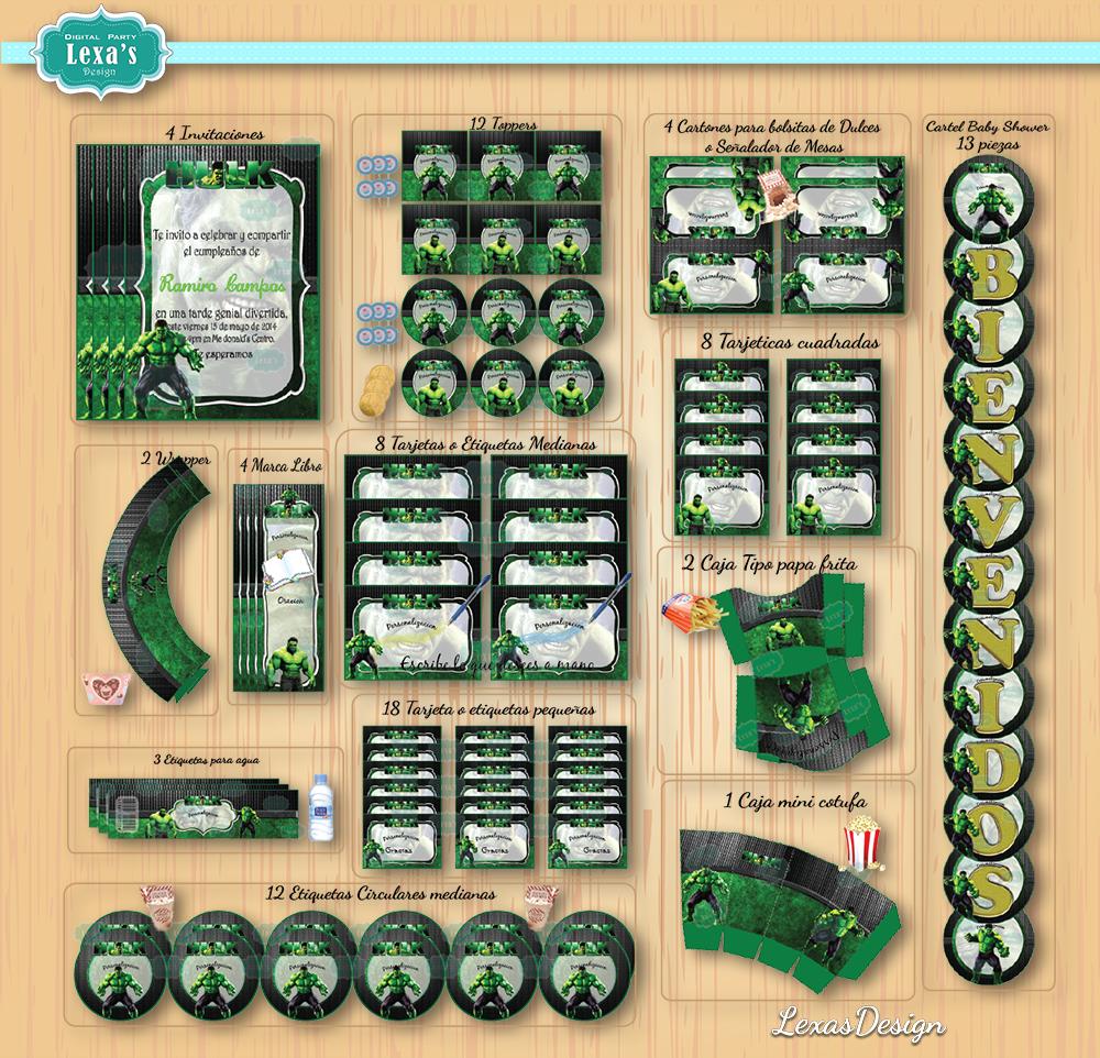 Kit imprimibles para fiestas Increible Hulk gratis