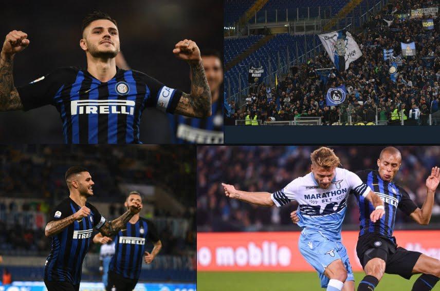 Inter vincente a Roma contro la Lazio, doppietta Icardi, raggiunto il Napoli in classifica.