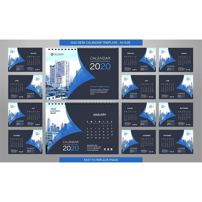 2020 desk calendar template download a 2020 calendar free vector vector