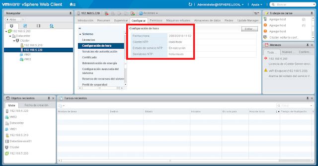 La configuración de los servicios de hora de vSphere, quedará con un aspecto similar al que mostramos en la imagen siguiente.