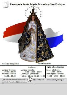 Calendario 2018. Portada Virgen Inmaculada de Caacupé