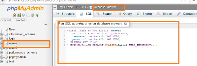 Membuat tabel di database dengan Query