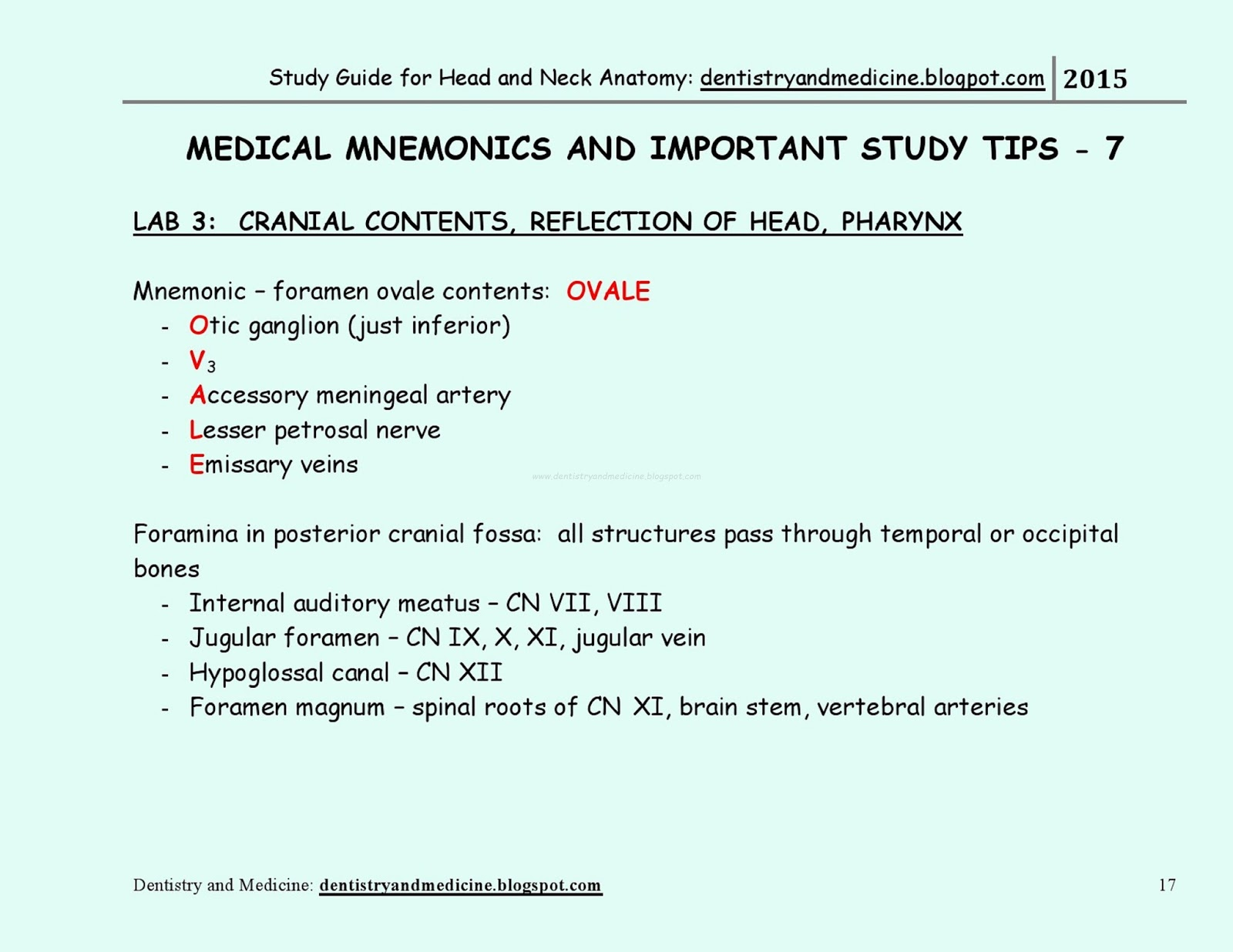 STUDY GUIDE FOR HEAD AND NECK ANATOMY - MEDICAL MNEMONICS -CRANIAL ...