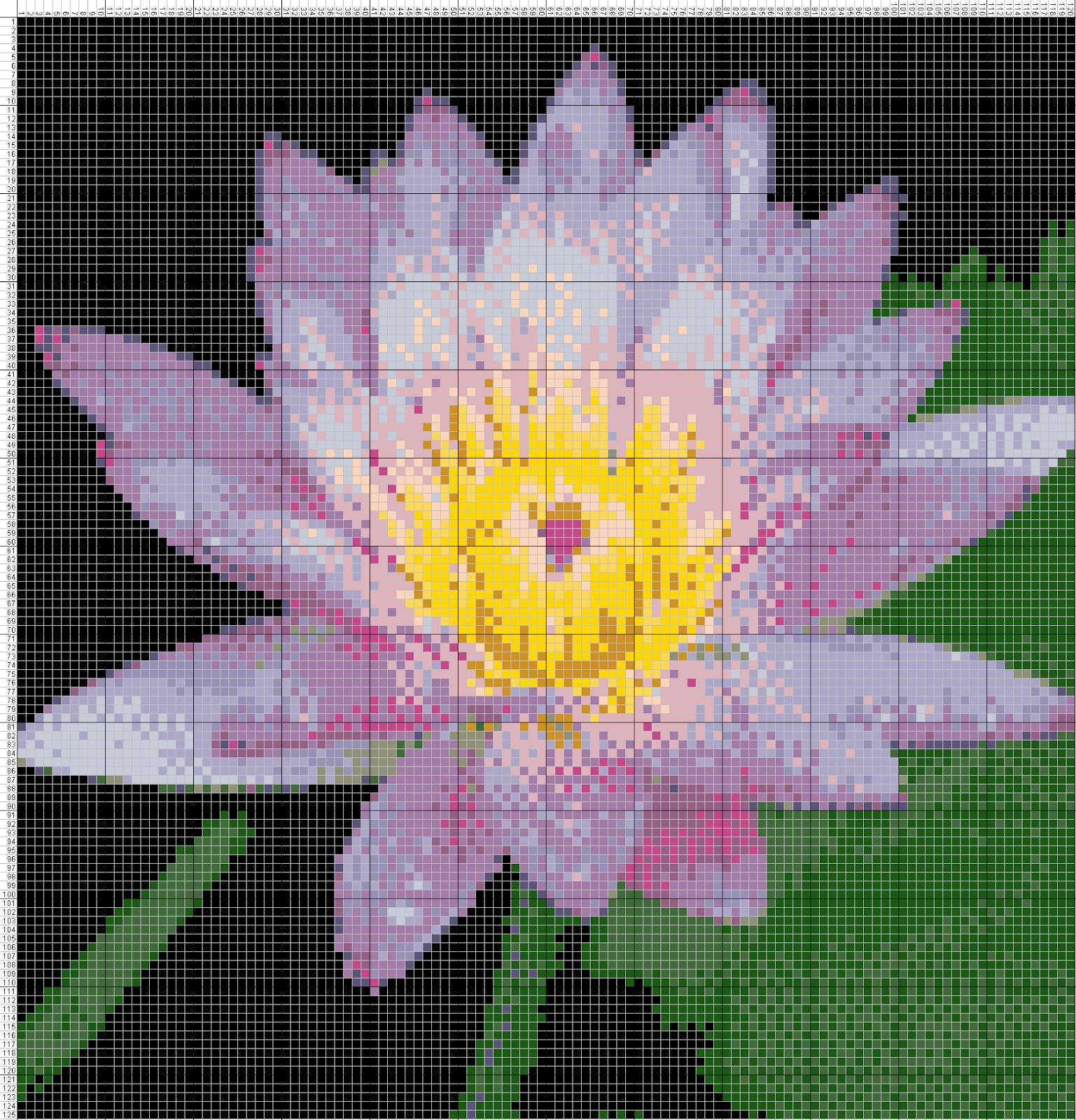 Gambar Pola Kristik Bunga Teratai 3 Free Cross Stitch Pattern