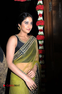 Actress Regina Stills in Green Saree at Vivaha Bhojanambu Restaurant Launch  0033.JPG
