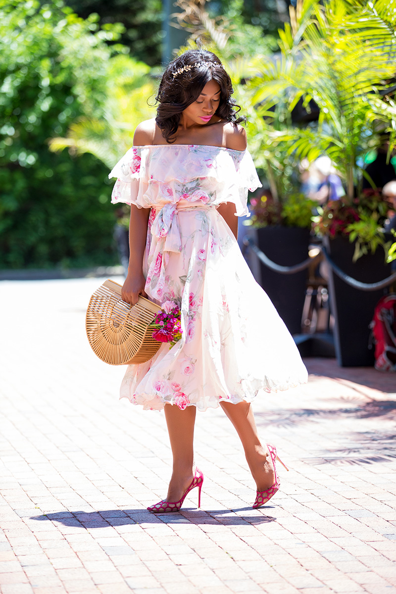Asos Floral Off The Shoulder Midi dress, cult gaia bag, www.jadore-fashion.com