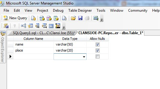 how to create a table sql
