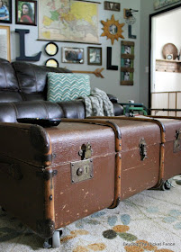 turn a vintage trunk into a coffee table with storage