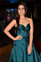 Raashi Khanna in Dark Green Sleeveless Strapless Deep neck Gown at 64th Jio Filmfare Awards South ~  Exclusive 008.JPG