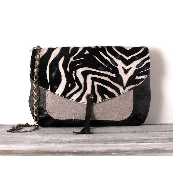 Sac Letter Pocket Zebra cuir noir/taupe Matières à réflexion