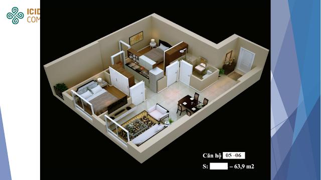 Thiết kế căn hộ 05 - 06 chung cư ICID COMPLEX
