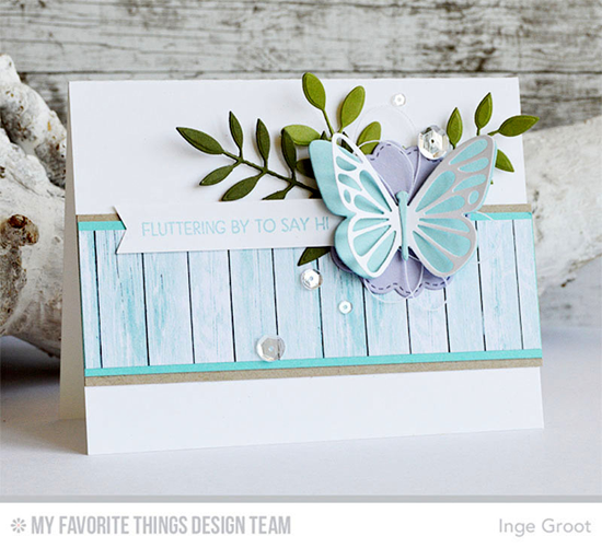 Fluttering By Card by Inge Groot featuring the Lisa Johnson Designs Fly-By Friends stamp set, and the Tree-mendous, Bold Greenery, Flutter of Butterflies - Solid, and Flutter of Butterflies - Lace Die-namics #mftstamps
